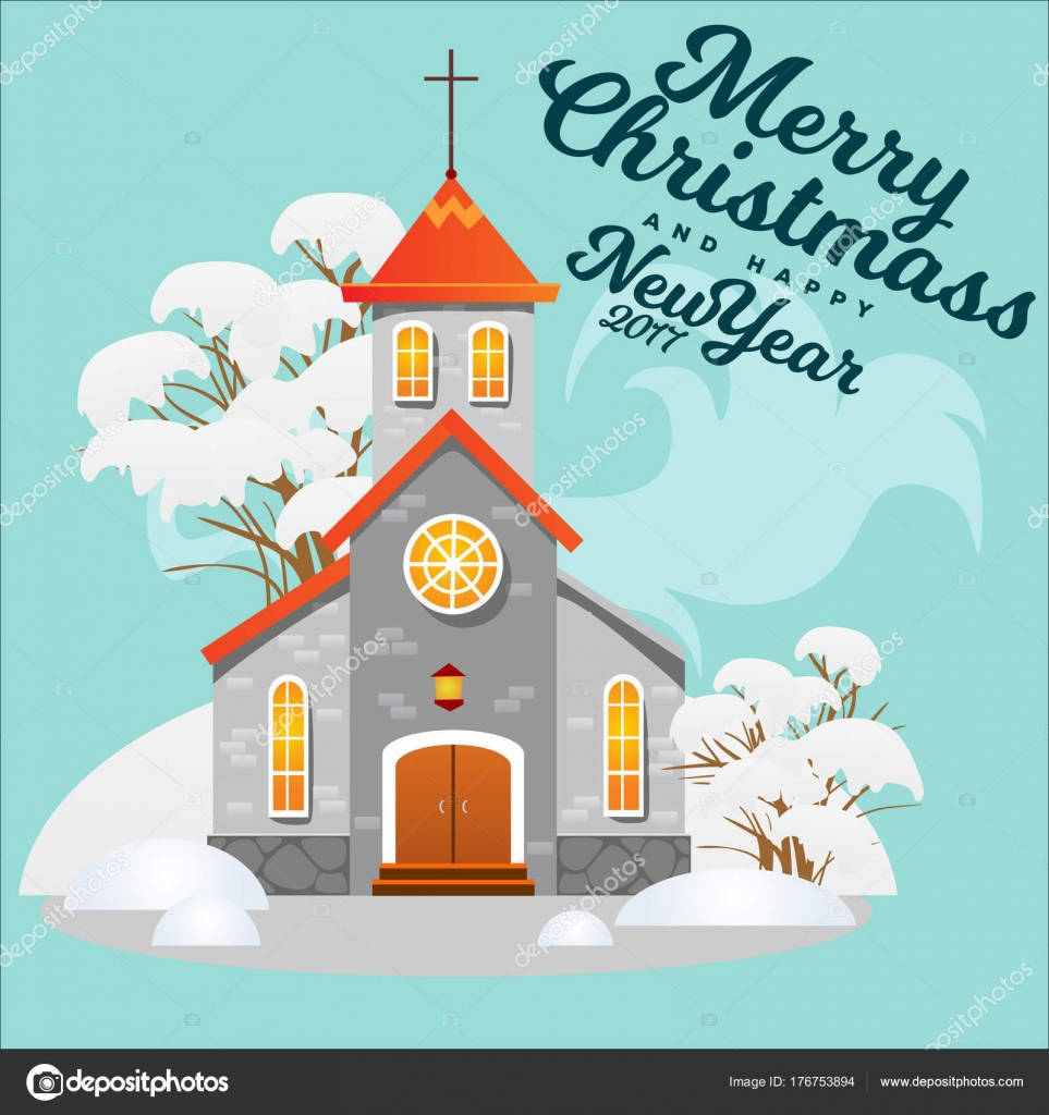 merry christmas and happy new year card church and green tree under snow christianity and catholic winter city cathedral vector illustration religious