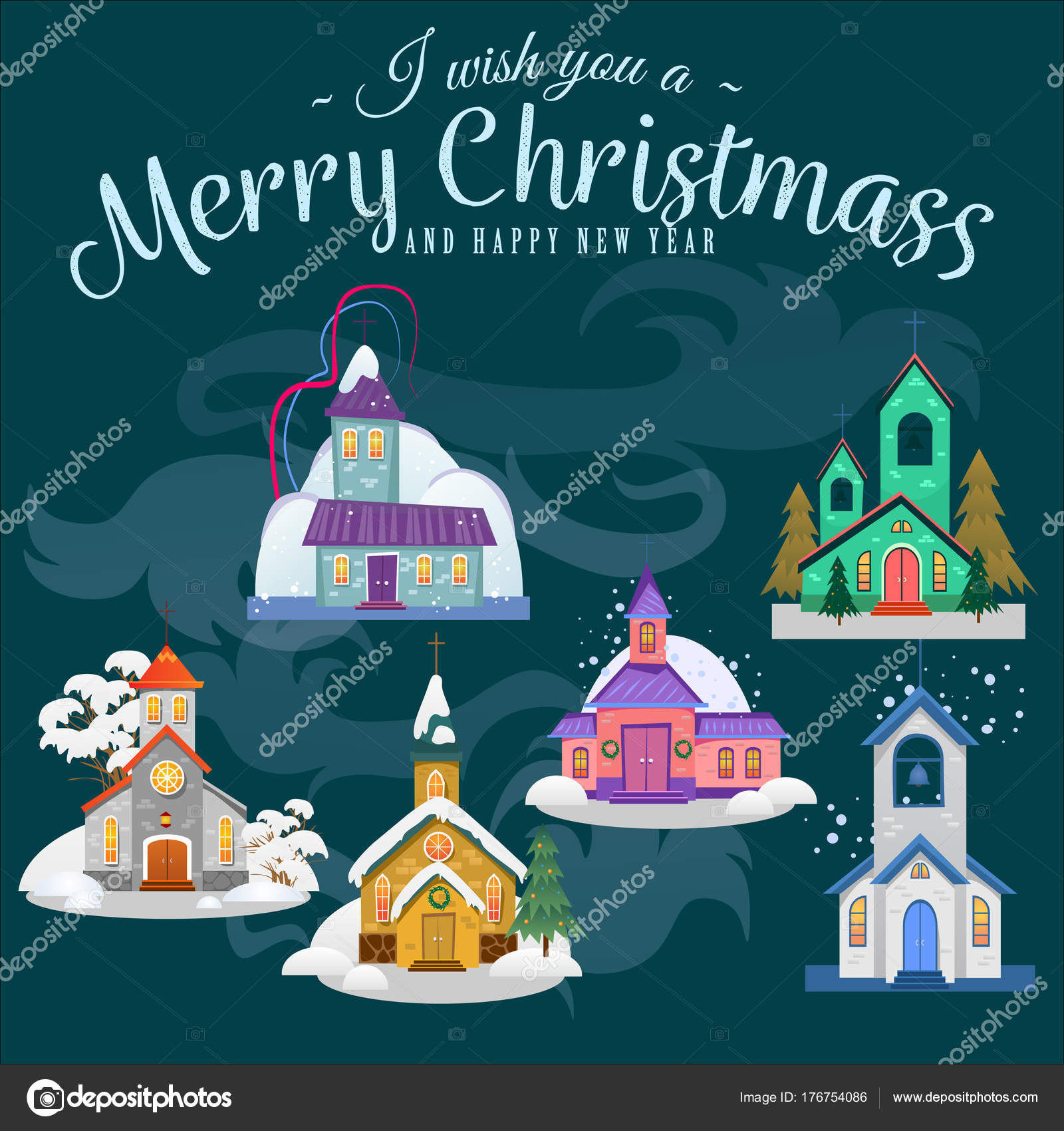 merry christmas and happy new year card church and green tree under snow christianity and catholic winter city cathedral vector illustration