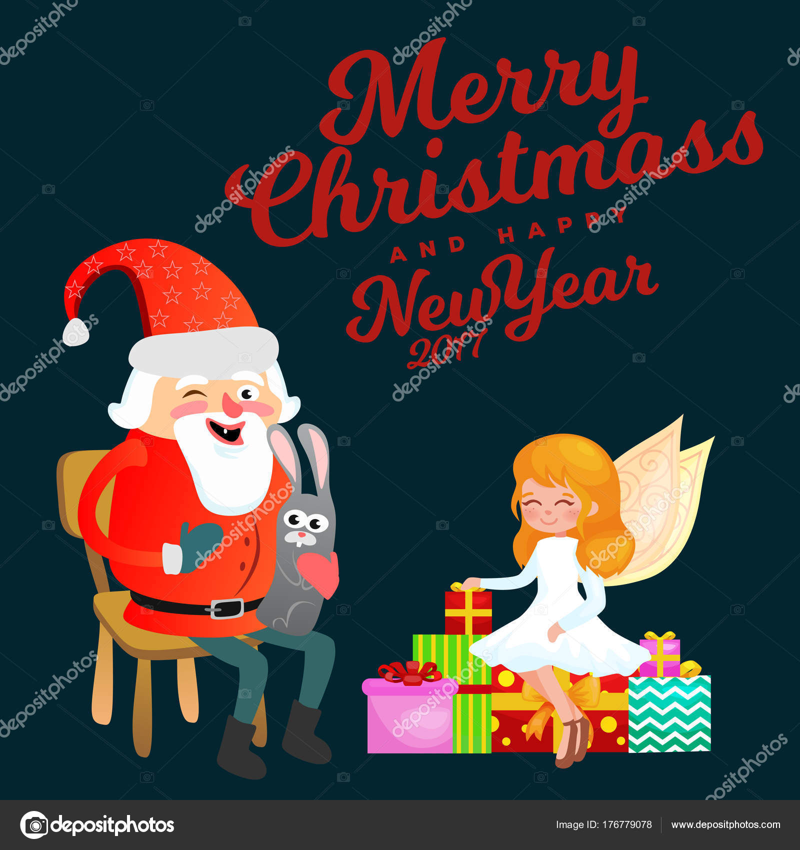 Santa claus in red hat with beard sits on chair with hare in hand santa claus in red hat with beard sits on chair with hare in hand which makes wish magic fairy with golden wings helps and prepares gifts m4hsunfo