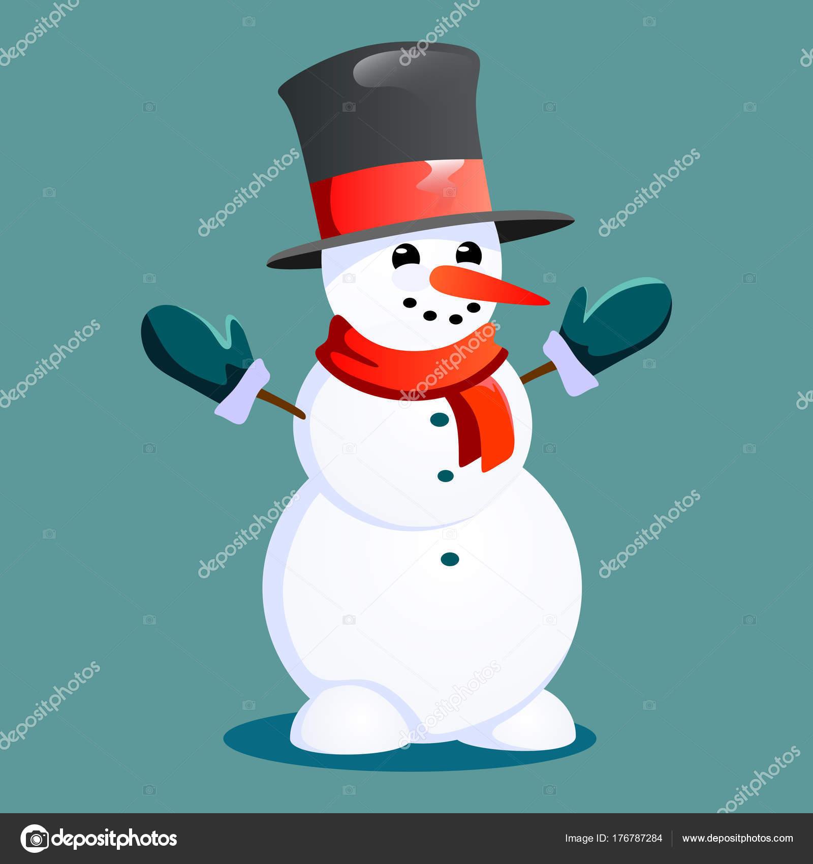 Schneemann im schwarzen Hut und Handschuhe, rot Schal gebunden um ...