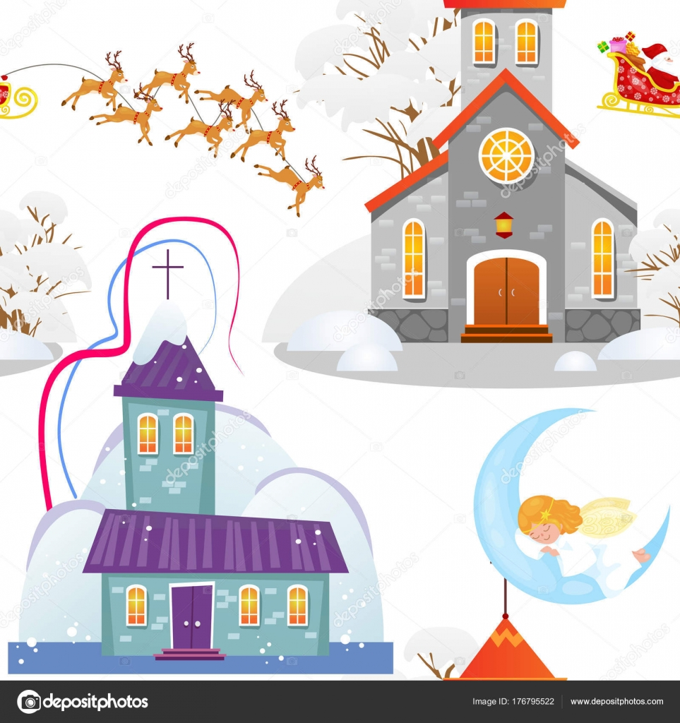 Feliz Navidad y feliz año nuevo de patrones sin fisuras, iglesia y ...
