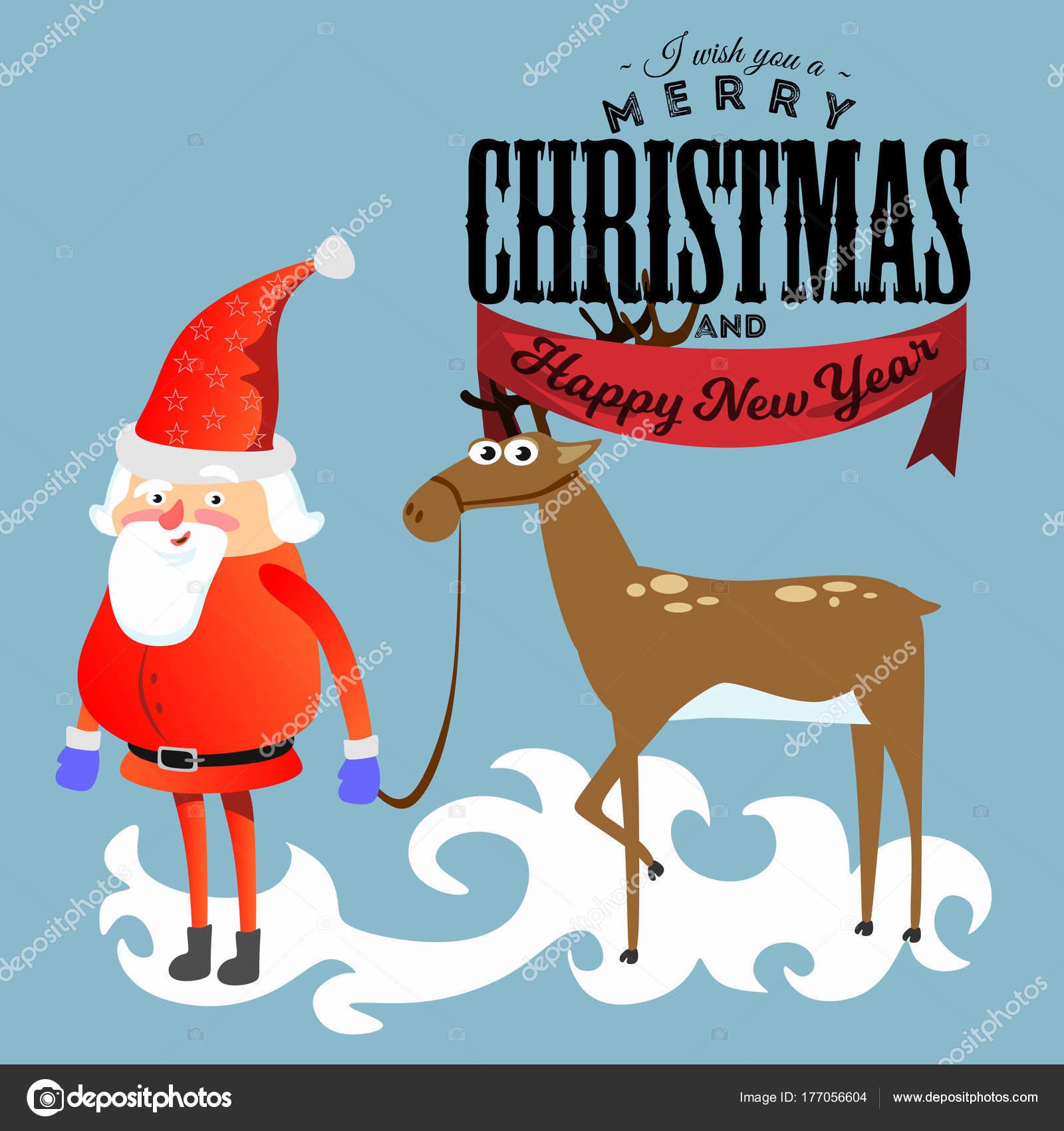 Santa Claus in roten Hut und Jacke mit Bart hält Halper Rentier ...
