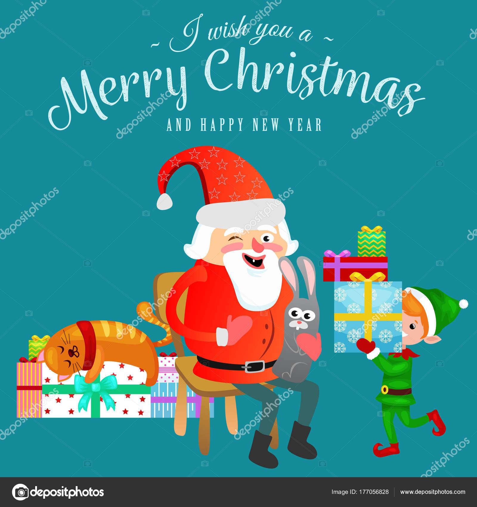Santa Claus in rote Mütze mit Bart sitzt auf Stuhl mit Hase in der ...