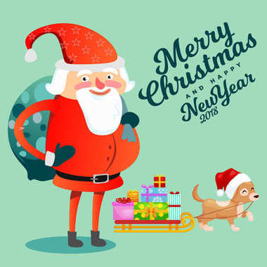 Santa Claus with hefty bag of gifts on his back congratulates everyone with Christmas and happy new year, pet dog puppy is dragging sleigh with festive boxes vector illustration