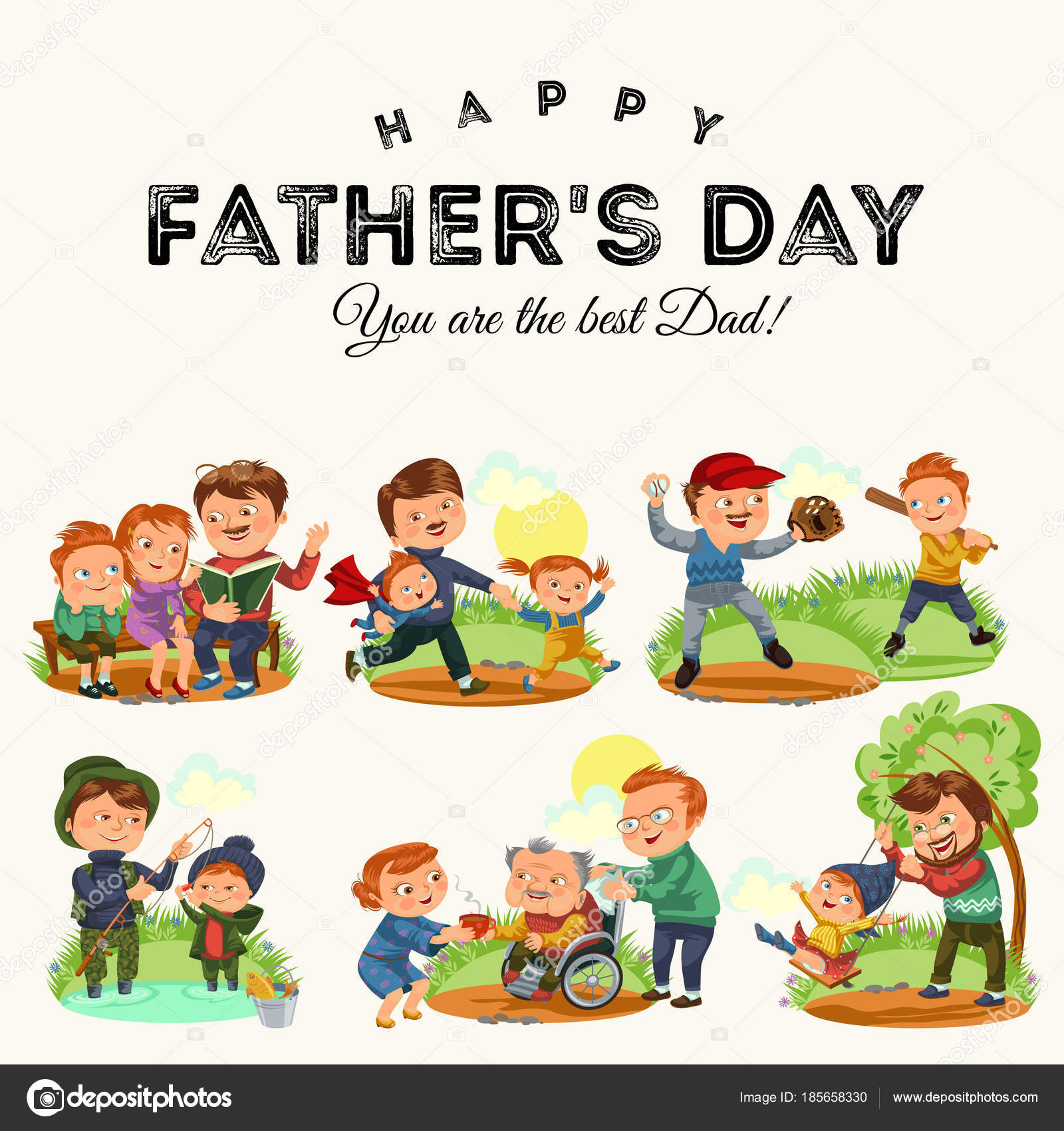 Set happy fathers day greeting card dad fun with kids parent of set happy fathers day greeting card dad fun with kids parent of little childrens m4hsunfo