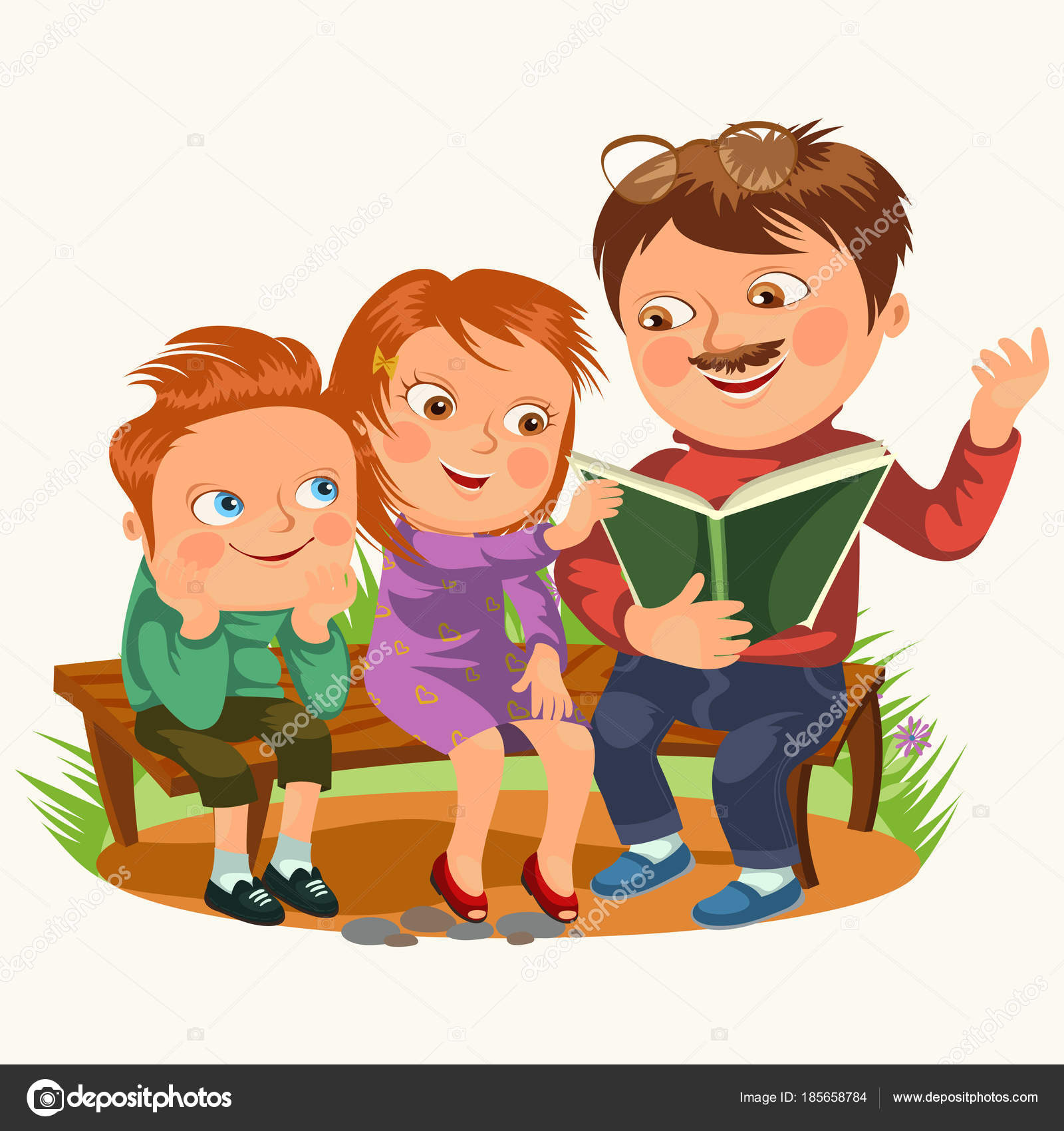 Dad Read Book For Childrens In Park Wooden Bench Family
