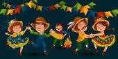 Giovane donna ballare salsa su feste celebrate in Brasile Festa Junina, uomo giocare su sanfona vicino falò festa tradizionale danza, danzatore del partito di vacanza, illustrazione di vettore di gente festosa carnaval