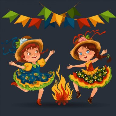 Young woman dancing salsa on festivals celebrated in Portugal Festa de Sao Joao, girl in straw hat traditional fiesta dance, holiday party dancer, festive people carnaval vector illustration. stock vector