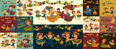 Young woman dancing salsa on summer festivals celebrated in Brazil Festa Junina, girl in straw hat traditional fiesta dance, holiday party dancer, festive people carnaval concept vector illustration. stock vector
