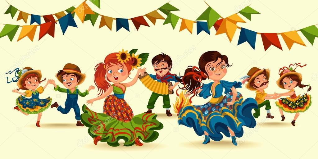 Young woman dancing salsa on festivals celebrated in Portugal Festa de Sao Joao, girl wear flower in head traditional fiesta dance, holiday party dancer, festive people carnaval vector illustration. stock vector