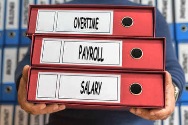 Overtime, payroll, salary, concept words. Folder concept. Ring b