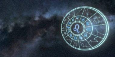 Light symbols of zodiac and horoscope circle, Leo Zodiac Sign
