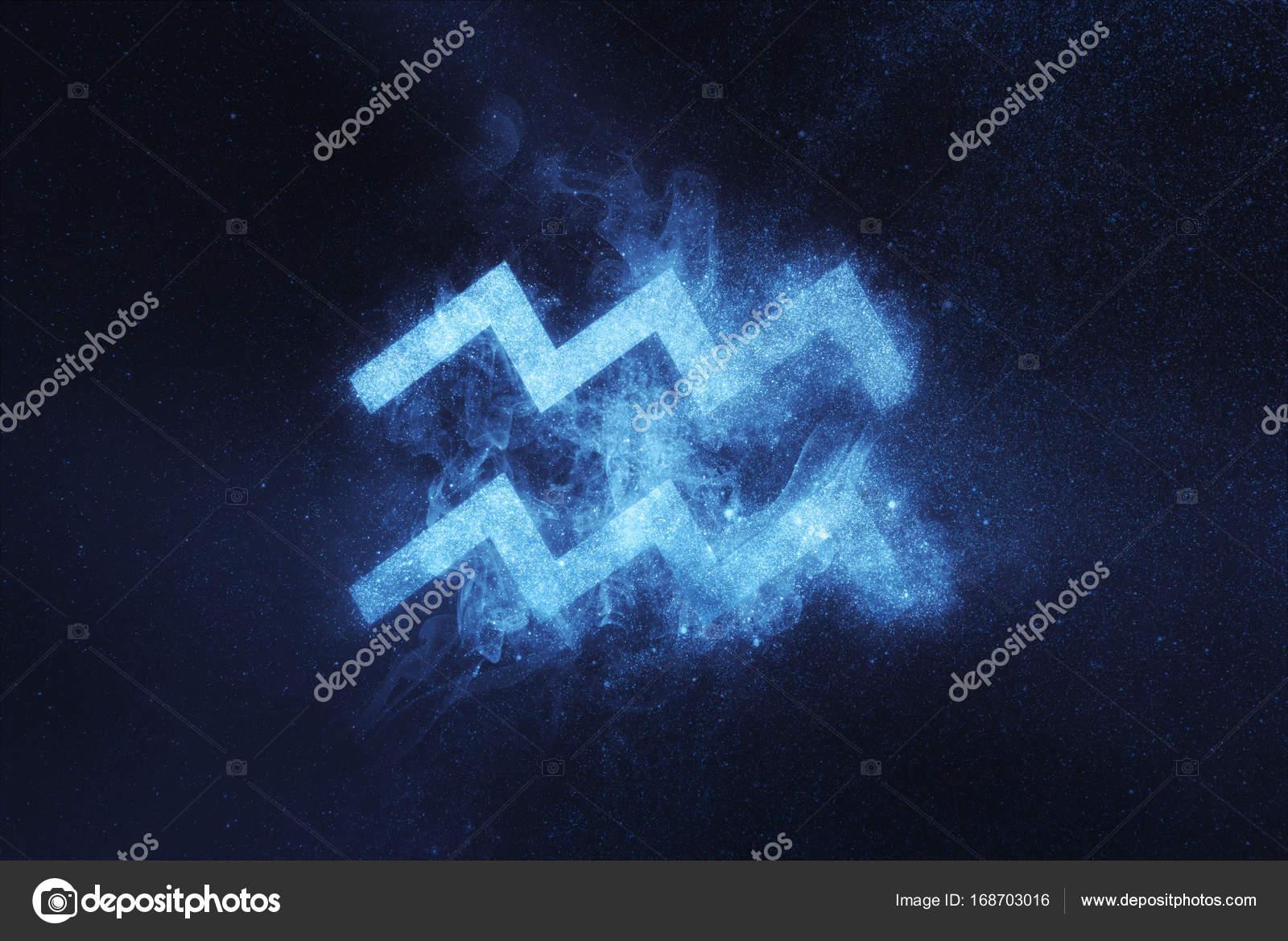 Aquarius Zodiac Sign Abstract Night Sky Background Stock Photo