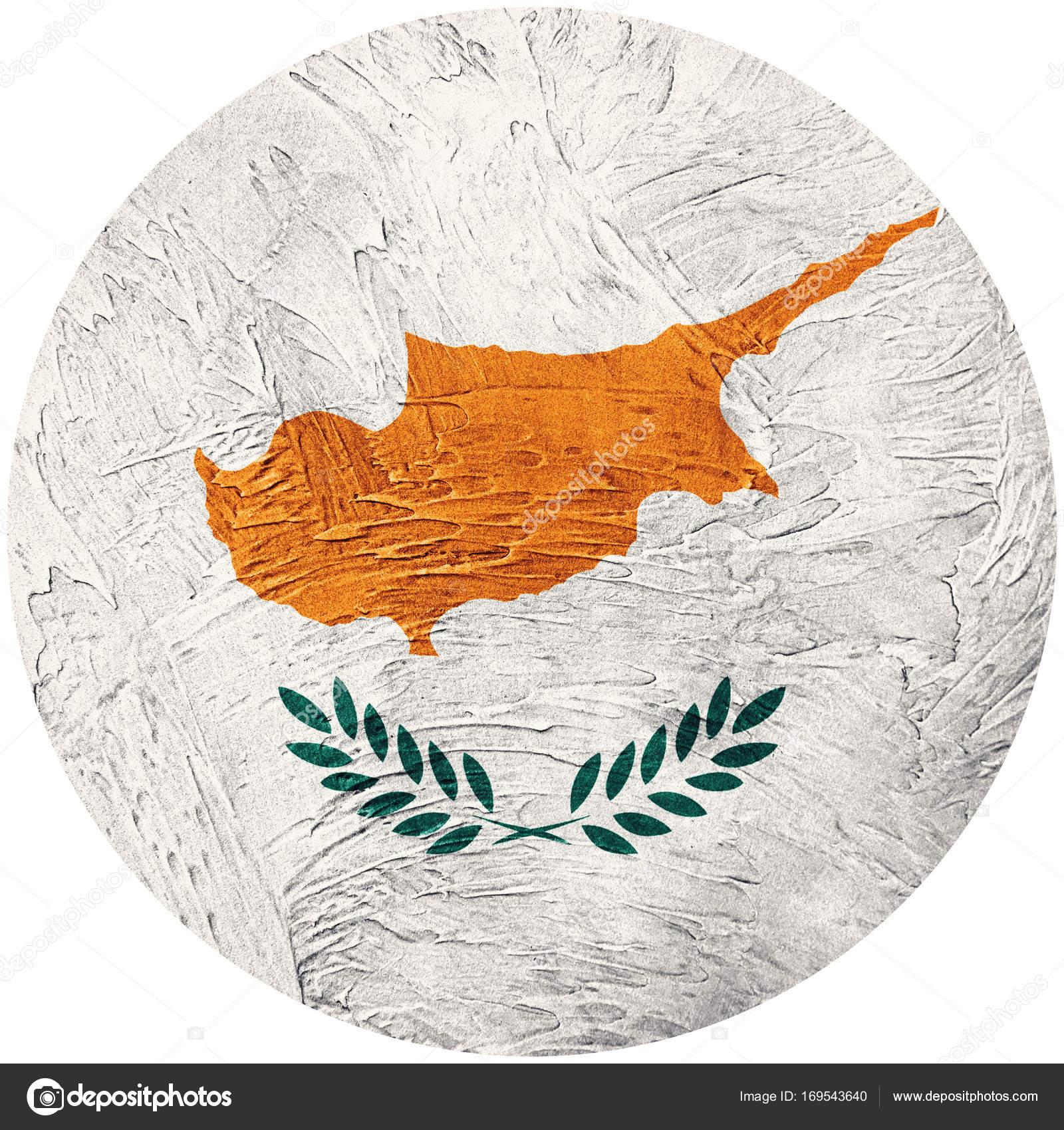 Grunge Kıbrıs Bayrağı Kıbrıs Düğmesini Bayrak Isolated Beyaz