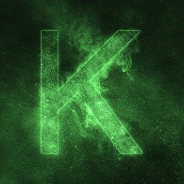 Letter K alphabet symbol. Space Letter, Night Sky Letter.