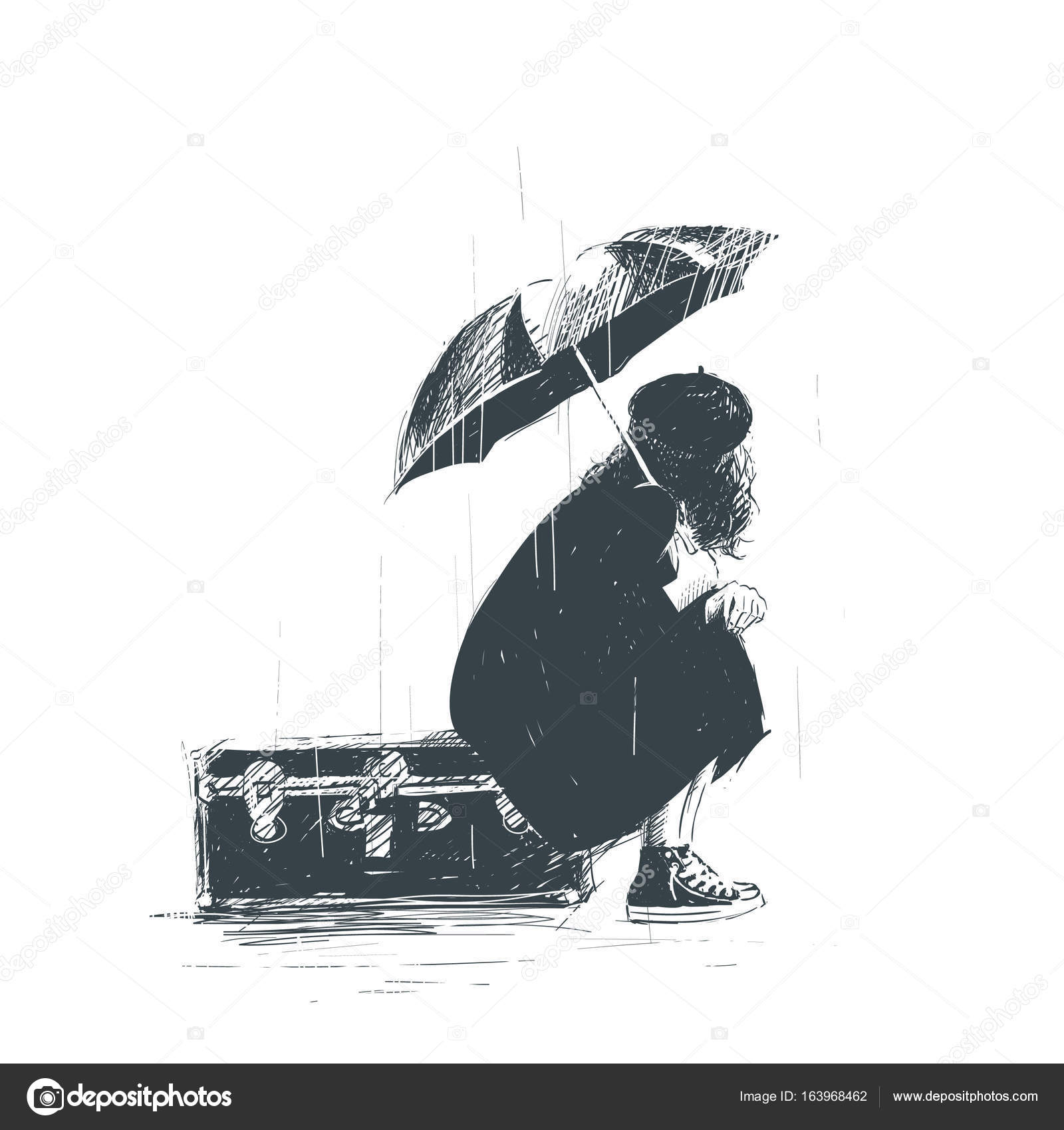 Lonely girl is sitting on the luggage with an umbrella in her hands during the rain sketch vector by hope designer