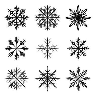 snowflake silhouette vector set