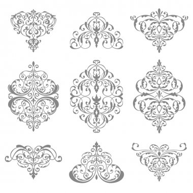 ornate damask ornament set