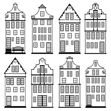 houses silhouette set