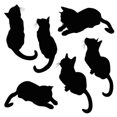 cat silhouette illustration set