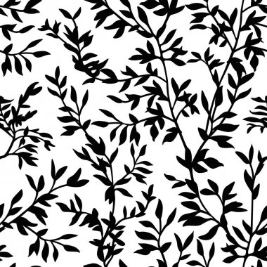 seamless pattern branches silhouette