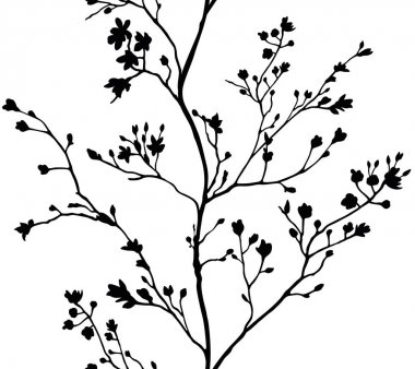 seamless banner branches silhouette background