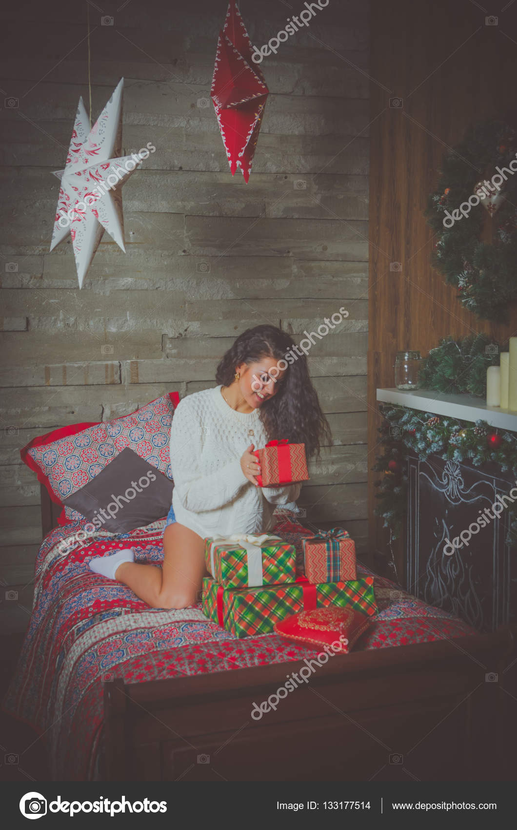Attractive Girl In White Sweater The Night Before Christmas Parses