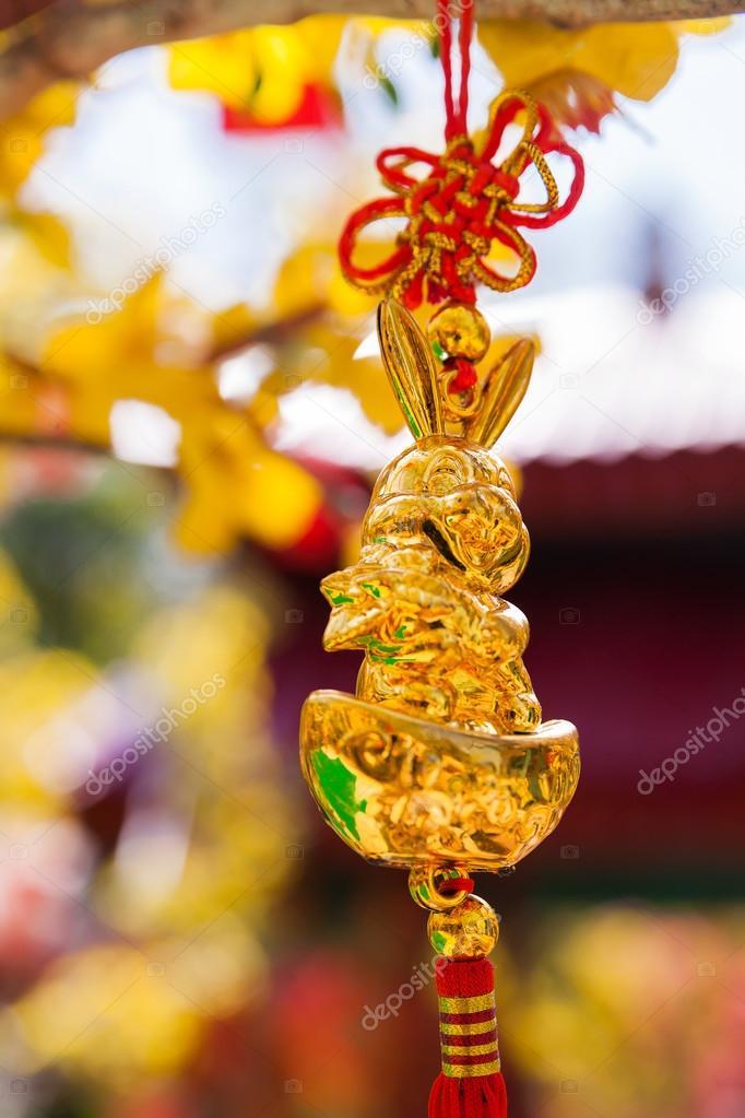 goldener hase chinesisches neujahr dekoration symbole. Black Bedroom Furniture Sets. Home Design Ideas