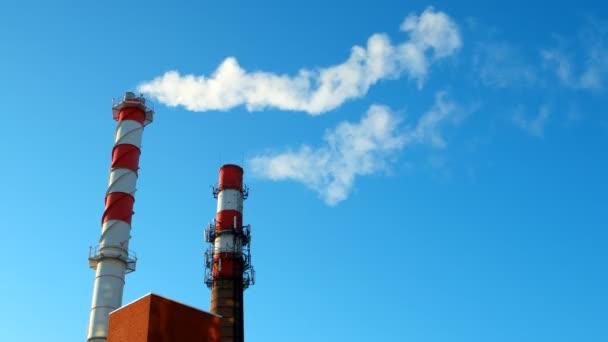 Depositphotos 136987640 stock video boiler house chimney steam against
