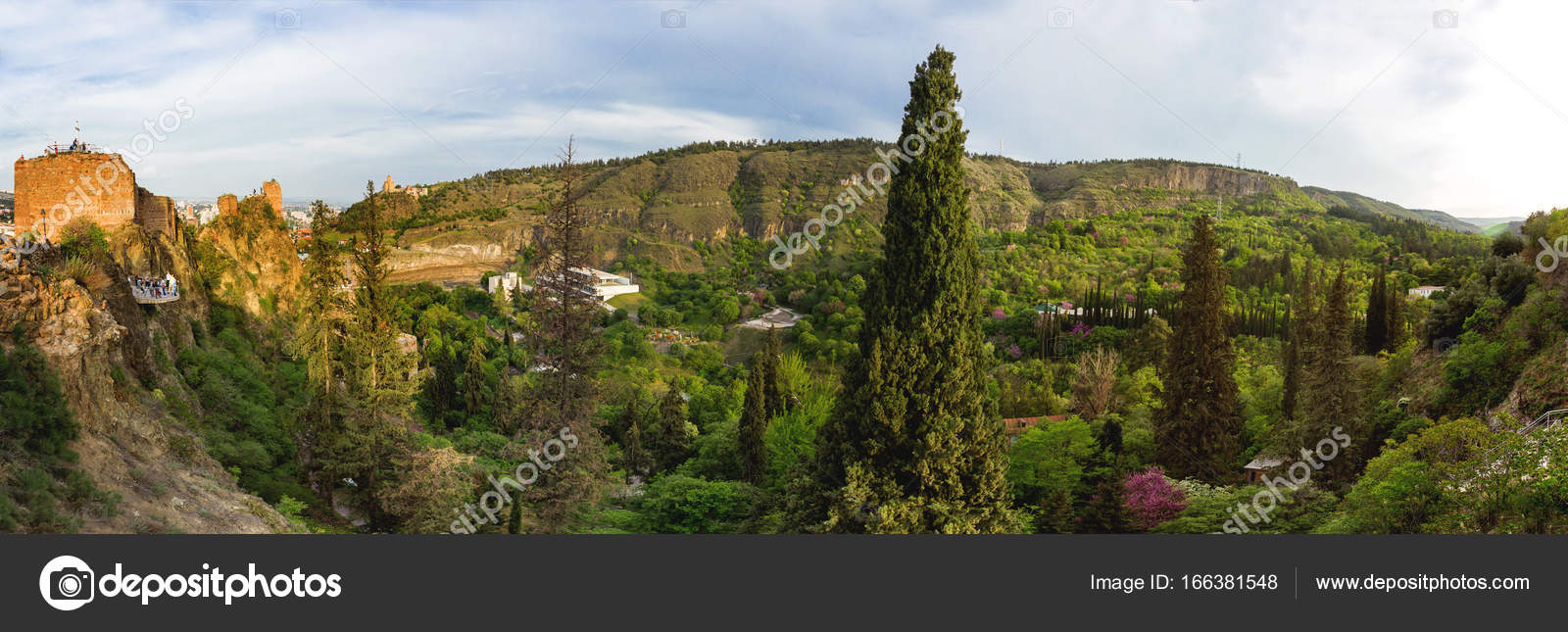 Tbilisi Botanical Garden, panorama view on forest from Narikala ...