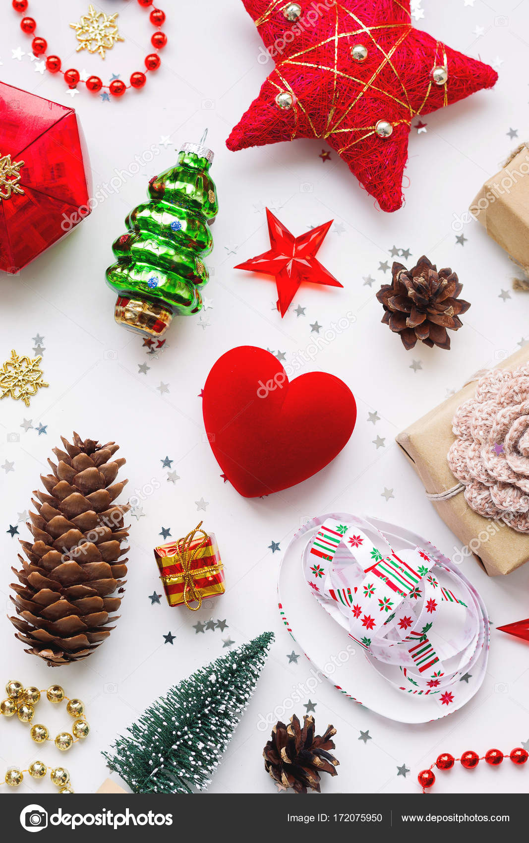 Christmas Background With Decorations New Year Symbol Decorative