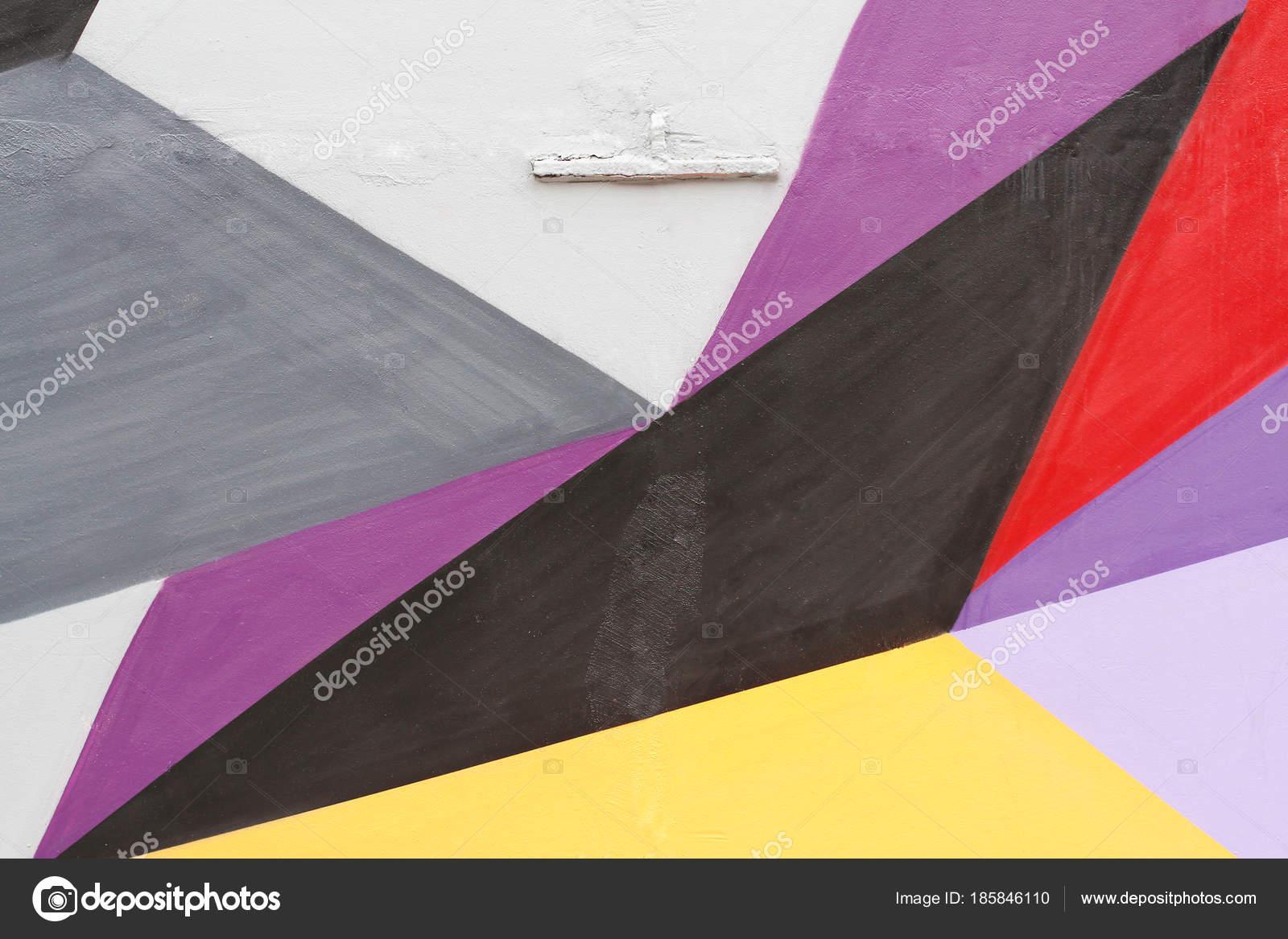 Colorido Cinza Violeta Preto Vermelho Amarelo Parede Pintada Com