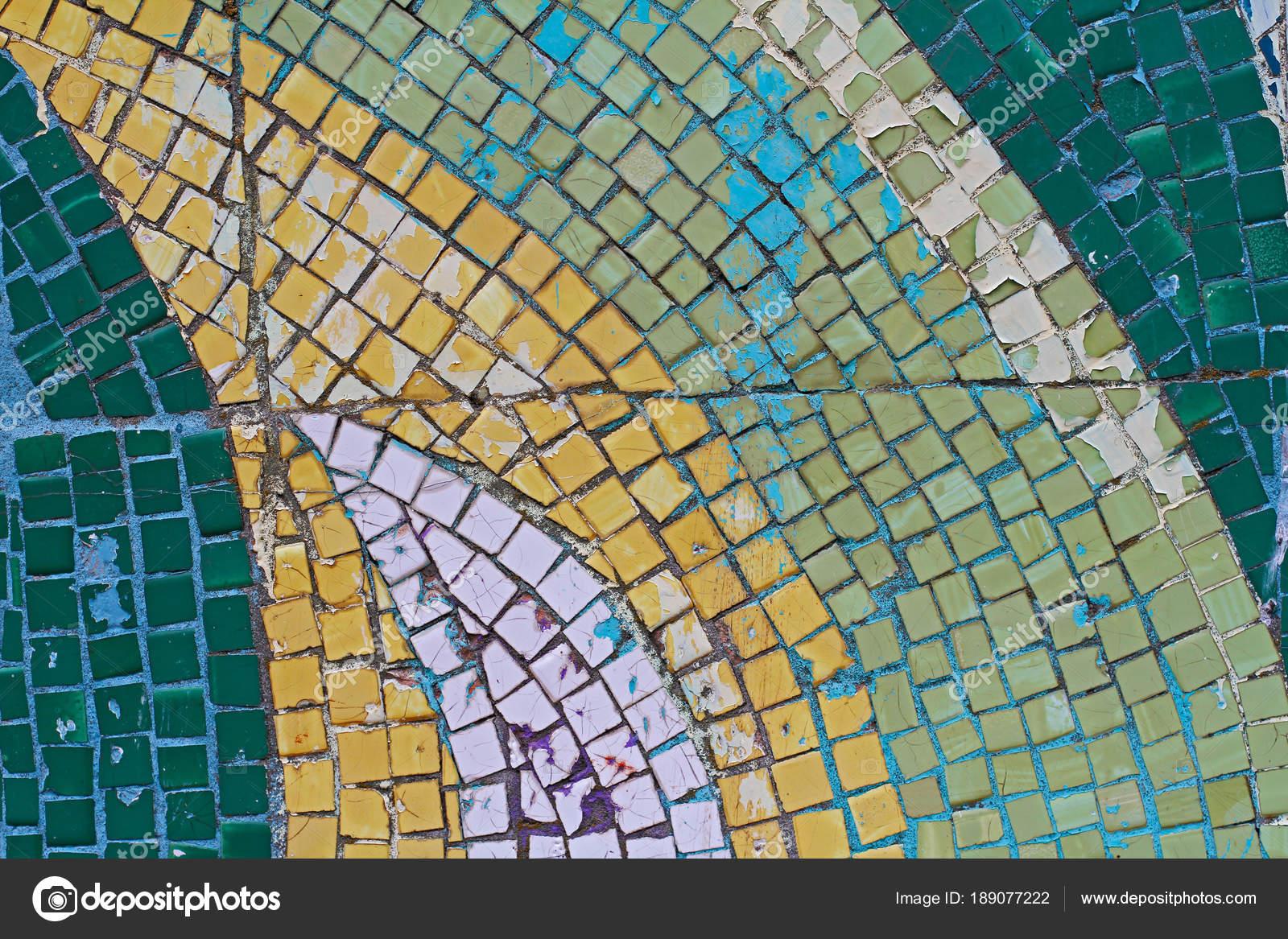 Grun Weiss Und Gelb Mosaik Fliesen Der Wand Als Hintergrund