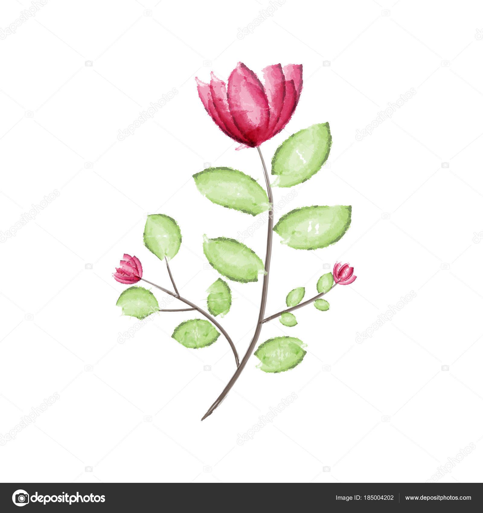 Aquarelle Fleur Rouge Avec Illustration Vectorielle Feuille Verte