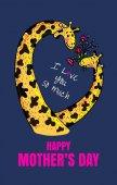 Fotografie Muttertagskarte mit Giraffe Zeichen