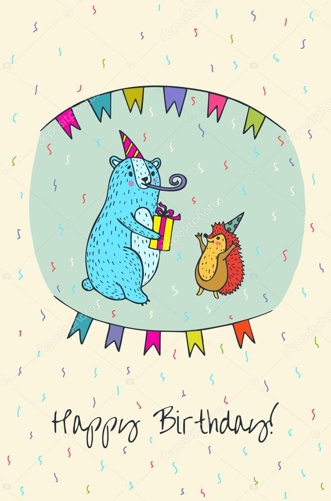 Happy Birthday Card With Bear And Hedgehog Characters Stock