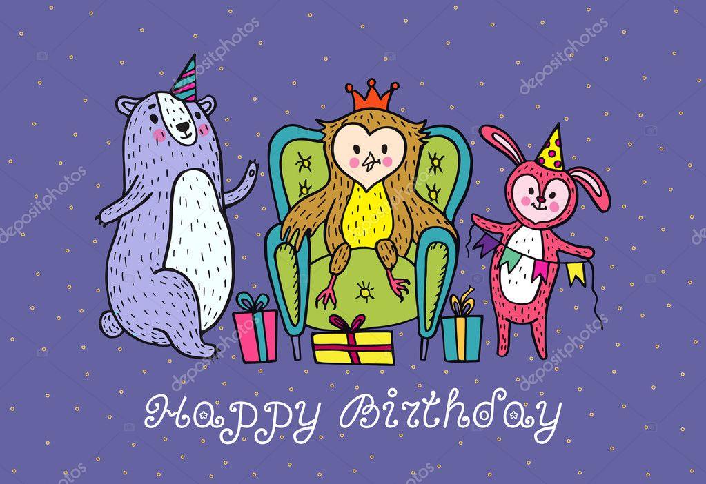 Card Di Buon Compleanno Con Personaggi Animali Vettoriali Stock