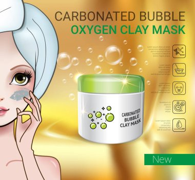 Vector Illustration with Manga style girl and carbonated bubble mask
