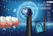 Elektrický kartáček reklamy. Vektorové 3d ilustrace s vibrující kartáček a zubní mobilní aplikace na obrazovce telefonu