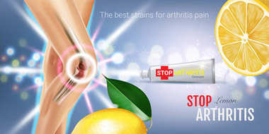 Arthritis Pain Relief Ointment ads. Vector 3d Illustration with Tube cream and lemon extract.