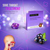 Fotografie Halls Cough Drops ads. Vector 3d Illustration with blackcurrant pills for throat.