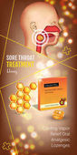 Fotografie Cough Drops ads. Vector 3d Illustration with honey pills for throat.