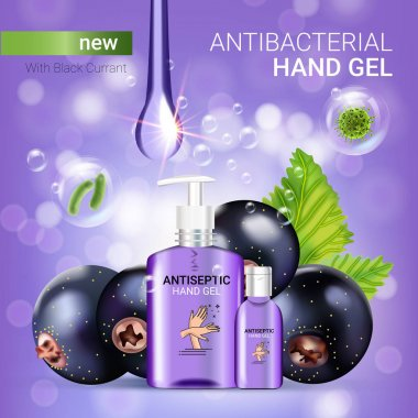 Black currant flavor antibacterial hand gel ads. Vector Illustration with antiseptic hand gel in bottles and blackcurrant elements