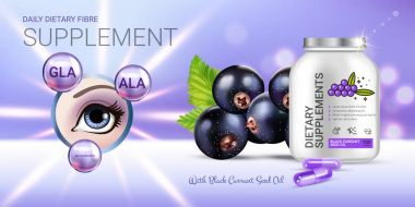 Black currant dietary supplement ads. Vector Illustration with eye supplement contained in bottle and blackcurrant elements.
