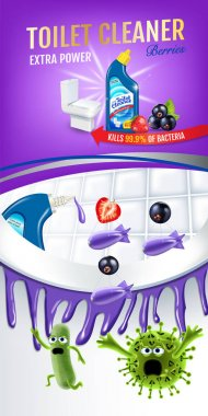 Berries fragrance toilet cleaner ads. Cleaner bobs kill germs inside toilet bowl. Vector realistic illustration. Vertical poster.