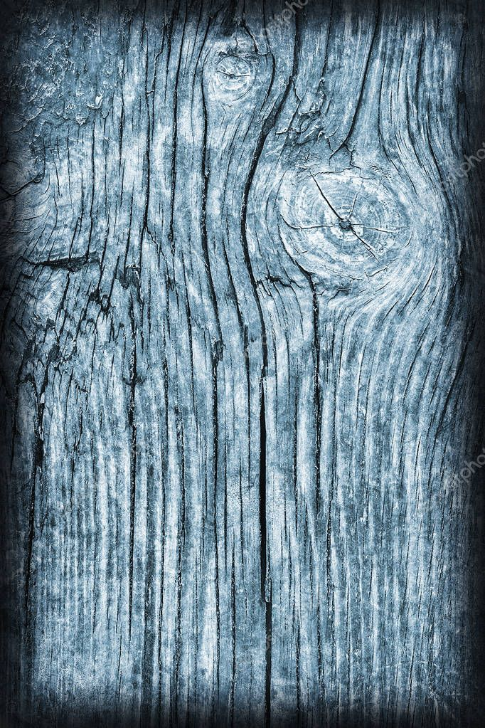 Old Knotted Wood Weathered Rotten Cracked Bleached And Stained Blue Vignetted Grunge Texture