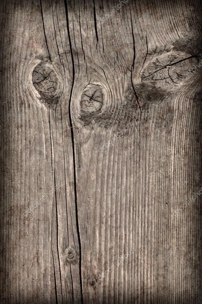 Old Knotted Wood Weathered Rotten Cracked Vignetted Grunge Texture
