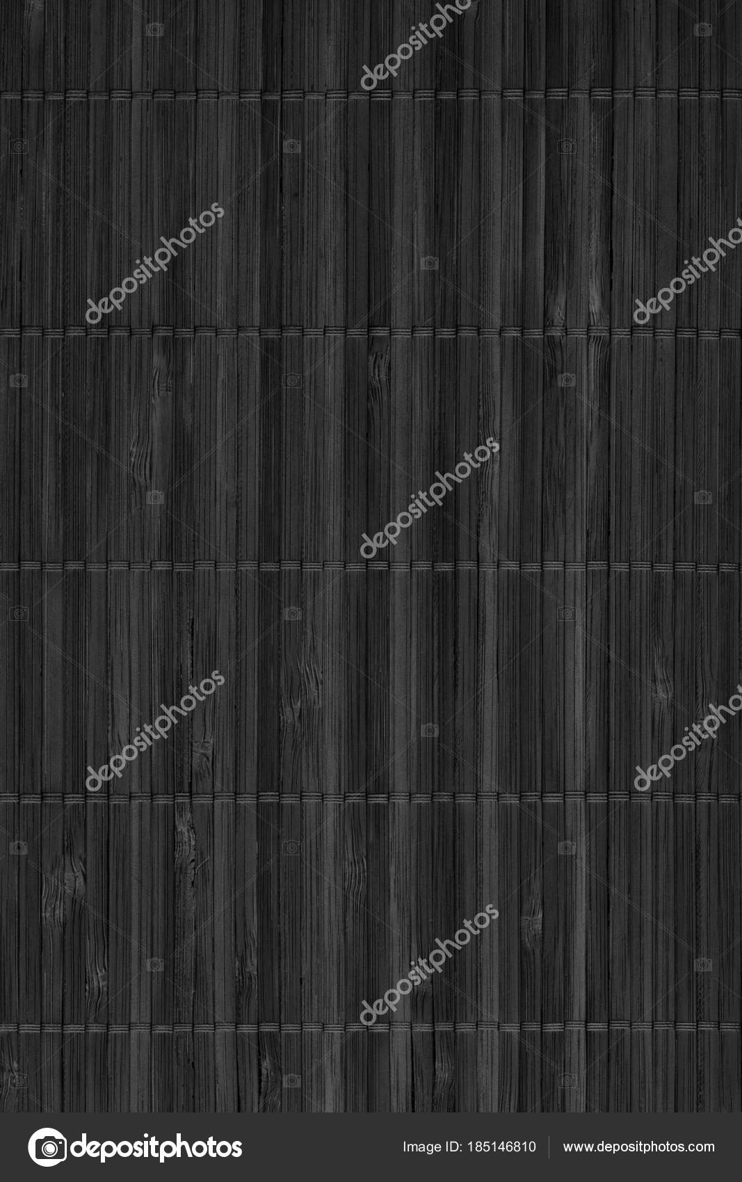 Black Rustic Bamboo Place Mat Slatted Interlaced Coarse Grunge Texture Stock Photo