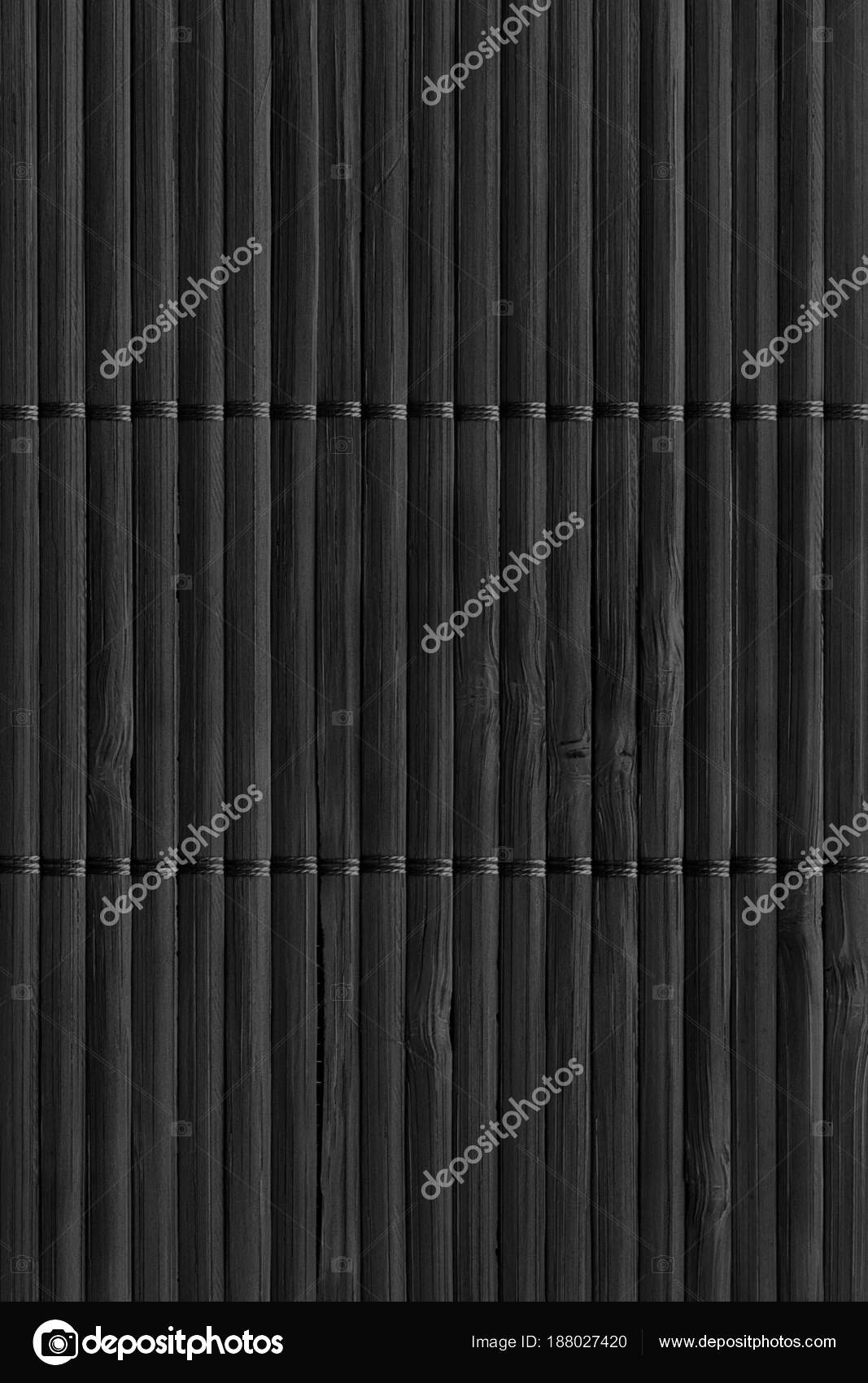 Black Rustic Slatted Bamboo Place Mat Interlaced Coarse Grain Grunge Texture Stock Photo