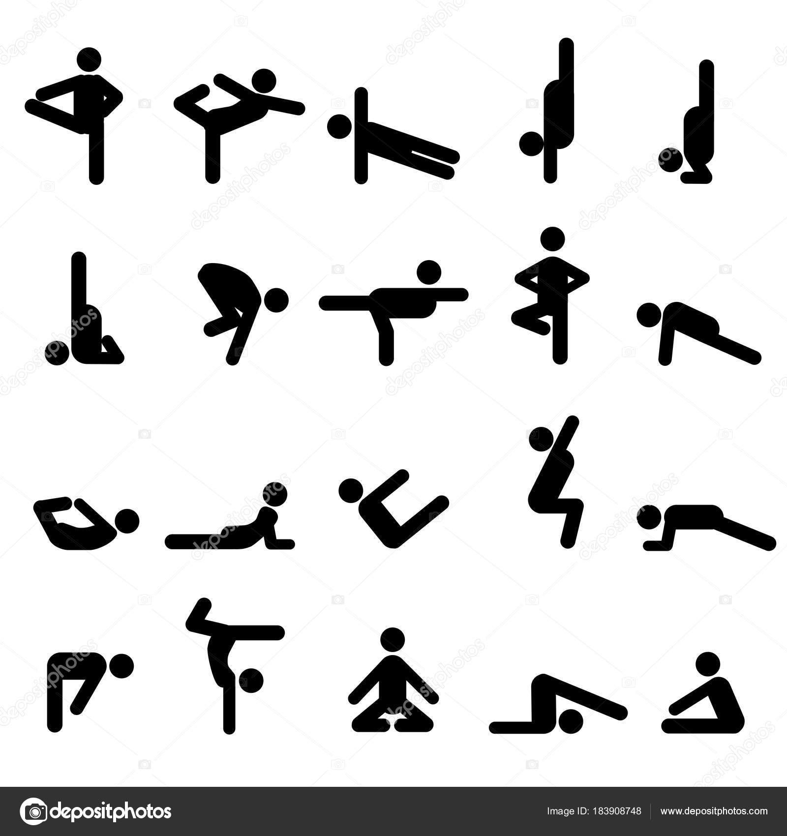 Set of twenty yoga poses in stick figures — Stock Vector ...